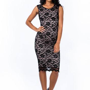 More Or Lace Layered Midi Dress