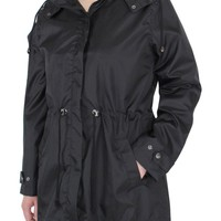 Capelli New York Ladies Solid Rain Slicker with Cinched Waist