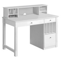 Walker Edison Deluxe Solid Wood Desk with Hutch - White