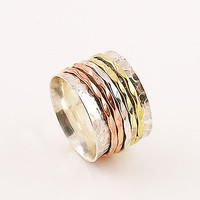 Spinner Ring - ThreeTone Five Hammered Spinner Bands - keja Jewelry