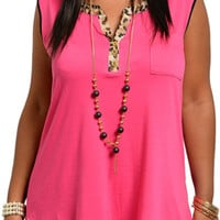 Fuchsia Plus Size Demure Animal Print Keyhole Back Top With Necklace