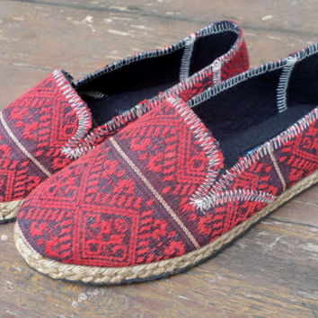 Womens Shoes Slip on Vegan Loafer In Burgundy Ethnic Naga Textiles