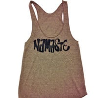 Namaste &amp; OM symbol women&#x27;s yoga racerback by AbundantHeartApparel