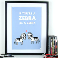 Light blue love quote poster zebra&#x27;s pop art poster print by kyd13