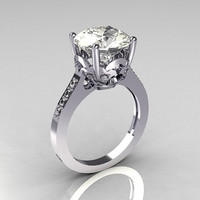 Classic 14K White Gold 3.5 Carat White Sapphire Solitaire Wedding Ring R301-14WGWS