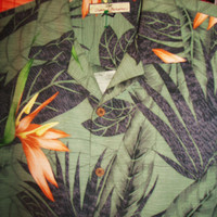 Amazing Vintage Hawaiian Shirt TOMMY BAHAMA Tropical Leaves 100% Silk Size M  Very Collectible