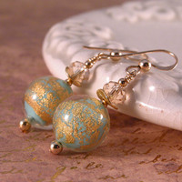 Turquoise, 24k gold Venetian glass, gold fill earrings