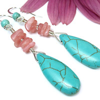 Turquoise Magnesite Drop Earrings Pink Rhodochrosite Sterling Jewelry