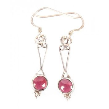 Garnet Cab Earrings