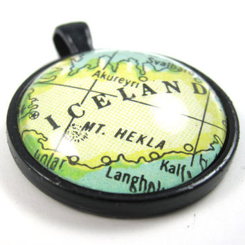 Iceland Pendant from Vintage Map in Glass by CarpeDiemHandmade