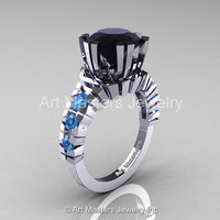 Modern 14K White Gold 3.0 Ct Black Diamond Blue Topaz Solitaire Wedding Anniversary Ring R325-14KWGBTBD