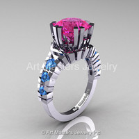Modern 14K White Gold 3.0 Ct Pink Sapphire Blue Topaz Solitaire Wedding Anniversary Ring R325-14KWGBTPS