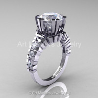 Modern 14K White Gold 3.0 Ct White Sapphire Solitaire Wedding Anniversary Ring R325-14KWGWS