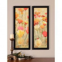 Uttermost Poppies Of Hope and Love Wall Art in Hand Applied Dabb (Set of 2) - 41281 - Decor