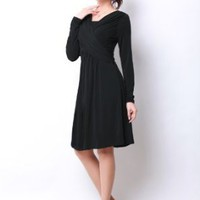 Cross Line Silhouette Front Gathered Nursing and Maternity Dress