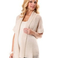 Motherhood Maternity: Short Sleeve Stitch Detail Maternity Cardigan