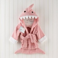"""Let the Fin Begin"" Pink Shark Baby Bath Robe"