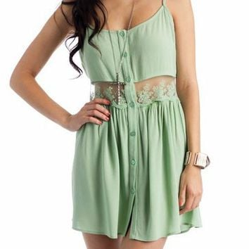 lace cami dress PISTACHIO - Casual | GoJane.com