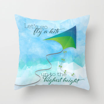 Let's Go Fly a Kite! Throw Pillow by Noonday Design | Society6