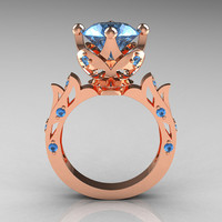 Modern Antique 14K Rose Gold 3.0 Carat Aquamarine Solitaire Wedding Ring R214-14KRGAQ
