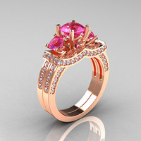 French 14K Rose Gold Three Stone White and Pink Sapphire Wedding Ring, Engagement Ring Bridal Set R182S-14KRGWPS