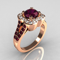 Classic 2011 Trend 18K Pink Gold 1.0 Carat Amethyst Diamond Celebrity Fashion Engagement Ring R104-18KPGDAM