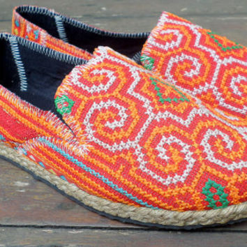 Vegan Womens Espadrilles Orange Hmong Embroidered Loafers