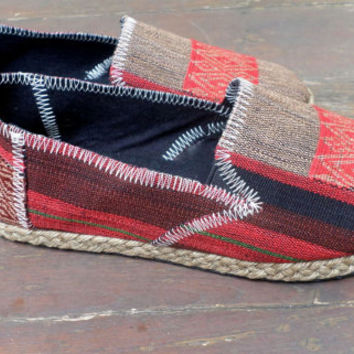 Tribal Womens Shoes Slip on Vegan Loafer In Red And Tan Ethnic Naga Textiles