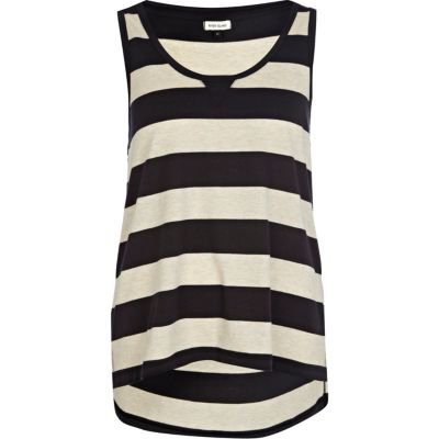 dark grey block stripe vest - River Island