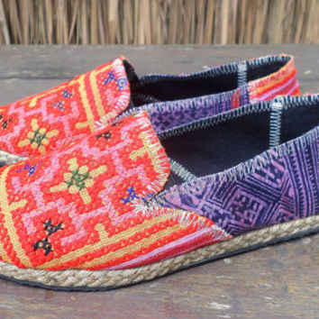 Vegan Womens Espadrilles Orange Hmong Embroidered Loafers With Purple Batik