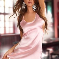 Beauty Night BN6155 Antoinette Pink Satin chemise and G-string set