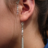 Blue Tooth Style Ear Cuffs, Ear Wraps, Earcuff, Non Pierced Earrings, Pair of Silver Plated Ear Cuffs with pink and silver accents