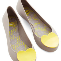 Mel Shoes Quirky Follow Your Art Flat in Grey