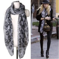 Skull Print Shawl Scarf - GREY