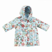 Pluie Pluie Girls Outerwear Blue Floral Print Unlined Raincoat 12M-8