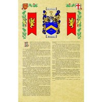 Romero Coat of Arms / Family Crest with Armorial History on Beautiful 11 x 17 Parchment Paper
