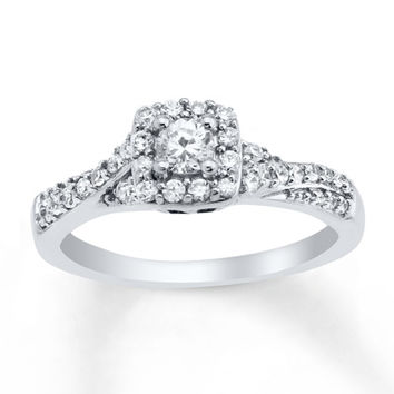 Diamond Engagement Ring 1/2 ct tw Round-cut 10K White Gold