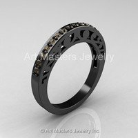 Modern Vintage 14K Black Gold Champagne Diamond Matching Wedding Band R102B-14KBGCHD