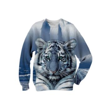 Blue Tiger Sweatshirt created by ErikaKaisersot | Print All Over Me