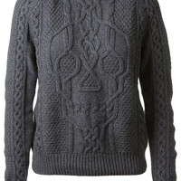 ALEXANDER MCQUEEN GREY WOOL AND CASHMERE TWISTED PULLOVER