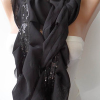 Black Chiffon Scarf with Black Sequins by SwedishShop on Etsy
