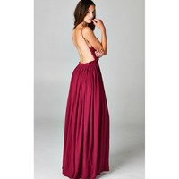 Blossoming Crocheted Backless Maxi Dress (Wine)