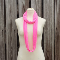 SKINNY SCARF - NEON Pink Infinity Scarf - Pink Scarf Necklace - Cotton Eternity Scarf