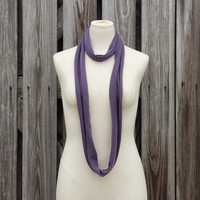 SKINNY SCARF - PLUM Infinity Scarf - Frosted Grape Scarf Necklace - Cotton Eternity Scarf