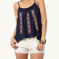 Embroidered Gauze Woven Tank