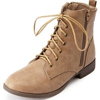Lace-Up Double Zipper Short Combat Boots by Charlotte Russe - Taupe