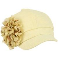 Ladies Summer 100% Linen Newsboy Cabbie Pretty Ruffle Flower Sun Hat Cap Cream