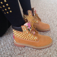 Floral Spiked Timberland - lace up boots