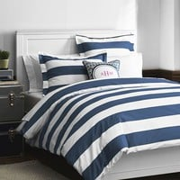 Cottage Stripe Duvet Cover + Sham, Royal Navy
