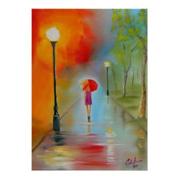 Woman with a red umbrella rainy day painting